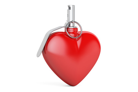 Heart Grenade, 3D rendering isolated on white background Stock Photo