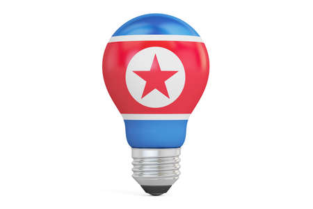 Light bulb with North Korea flag, 3D rendering isolated on  white background