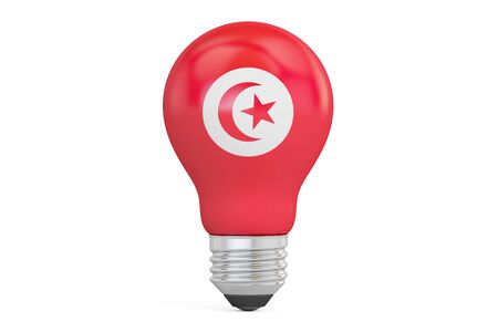 on the comprehension: Light bulb with Tunisia flag, 3D rendering isolated on  white background Stock Photo