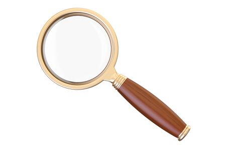 magnifying glass, 3D rendering isolated on white background
