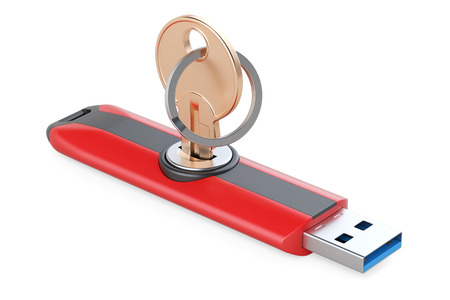 to maintain: USB flash drive with key, safety concept. 3D rendering isolated on white background