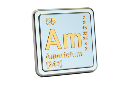 Americium Am, chemical element sign. 3D rendering isolated on white background Stock Photo