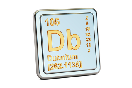radioactive sign: Dubnium Db, chemical element sign. 3D rendering isolated on white background