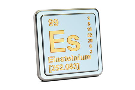 Einsteinium Es, chemical element sign. 3D rendering isolated on white background