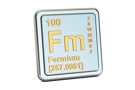 Fermium Fm, chemical element sign. 3D rendering isolated on white background Stock Photo