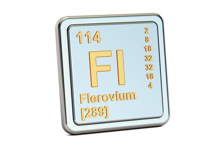 Flerovium Fl, chemical element sign. 3D rendering isolated on white background Stock Photo