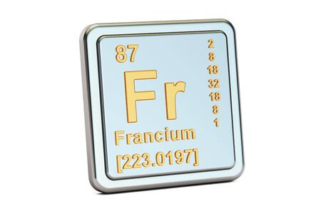 alkali metal: Francium Fr, chemical element sign. 3D rendering isolated on white background