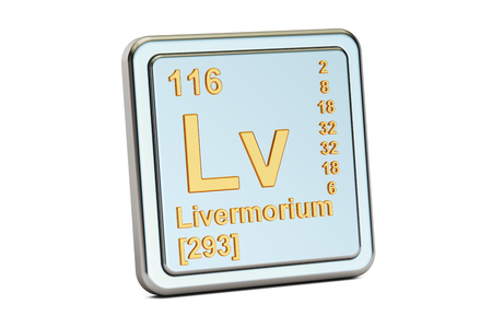 Livermorium Lv, chemical element sign. 3D rendering isolated on white background