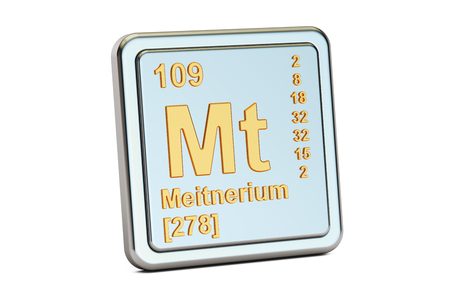radioactive sign: Meitnerium Mt, chemical element sign. 3D rendering isolated on white background Stock Photo