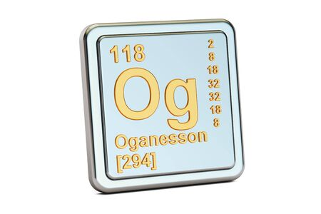 Oganesson Og, chemical element sign. 3D rendering isolated on white background