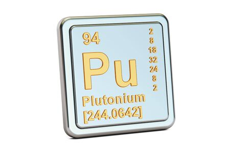 plutonium: Plutonium Pu, chemical element sign. 3D rendering isolated on white background