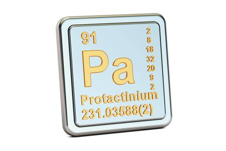 Protactinium of protoactinium, Pa chemisch elemententeken. 3D-rendering op een witte achtergrond Stockfoto