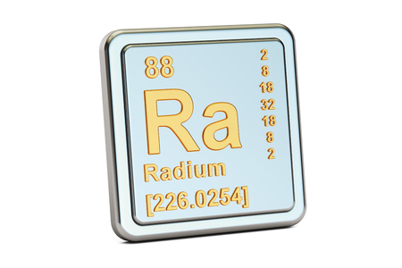 Radium Ra, chemical element sign. 3D rendering isolated on white background Stock Photo