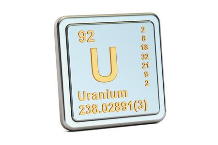 uranium: Uranium U, chemical element sign. 3D rendering isolated on white background Stock Photo