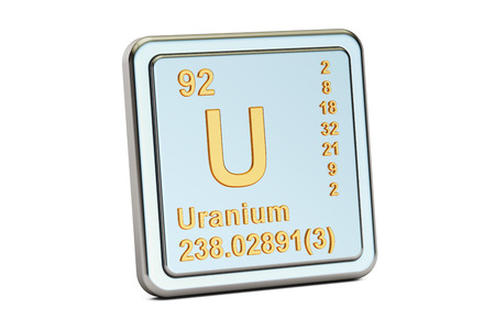 Uranium U, chemical element sign. 3D rendering isolated on white background Stock Photo