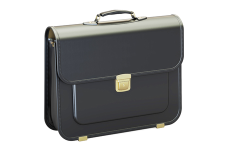 Black leather briefcase, 3D rendering isolated on white background Reklamní fotografie
