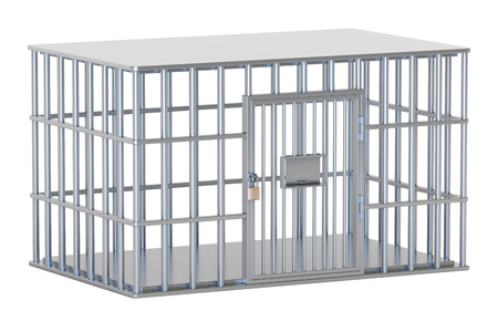 gaol: Empty steel cage, prison cell. 3D rendering isolated on white background