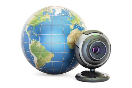 Internet communication concept, Earth globe with webcam. 3D rendering