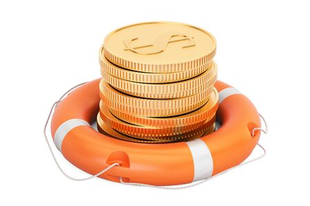 Lifebuoy with golden coins, 3D rendering isolated on white background Stock Photo