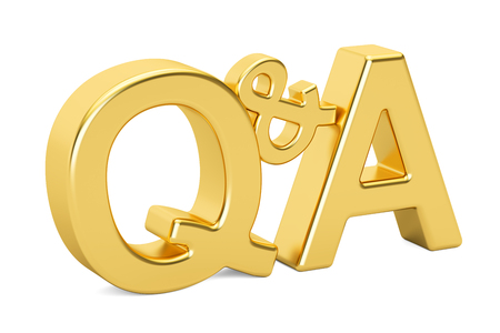 Q&A golden inscription, 3D rendering isolated on white background
