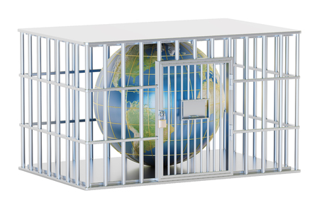 Steel cage, prison cell with Earth globe. 3D rendering isolated on white background Stock Photo