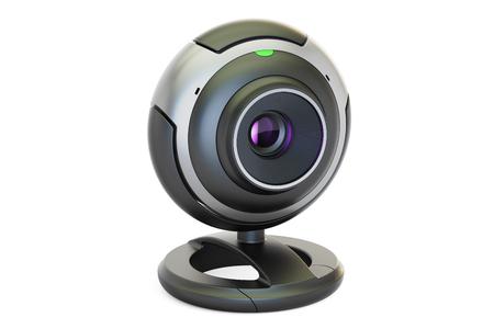 Webcam de cerca, representación 3D aisladas sobre fondo blanco Foto de archivo