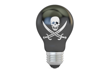 Light bulb with pirate flag, 3D rendering isolated on white background