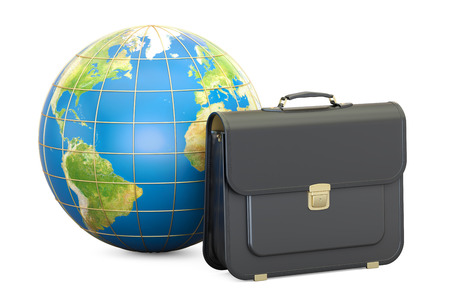 Global Business concept, briefcase with Earth globe. 3D rendering isolated on white background