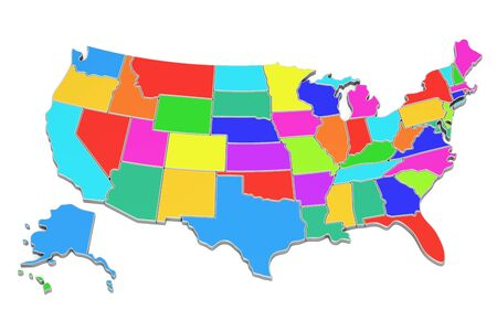 United States Map D Stock Photos Pictures Royalty Free United - Colored us map