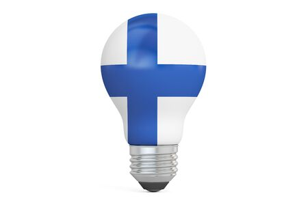 on the comprehension: Light bulb with Finland flag, 3D rendering isolated on  white background