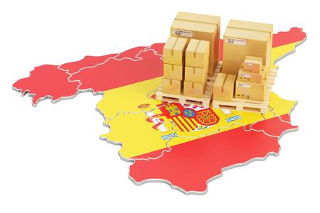 Versand und Lieferung aus Spanien isoliert auf weißem Hintergrund Standard-Bild