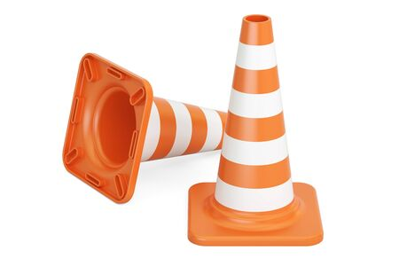 Traffic Cones, 3D rendering isolated on white background