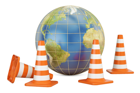 Traffic Cones with Earth Globe, 3D rendering