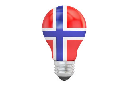 Light bulb with Norway flag, 3D rendering isolated on white background