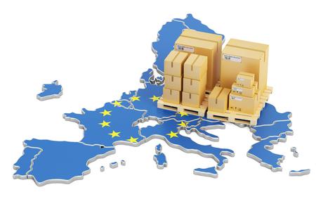 配送と配信から欧州連合の概念、3 D レンダリング 写真素材