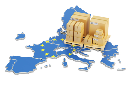 Shipping and Delivery from European Union concept, 3D rendering