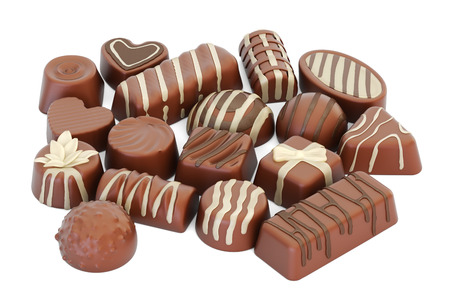 Assortment of chocolate candies, 3D rendering isolated on white background