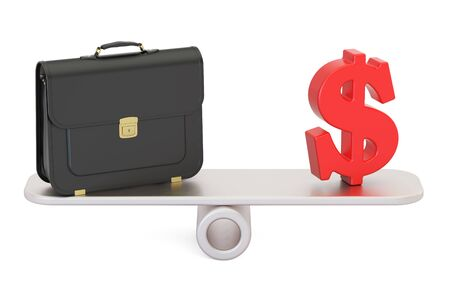 investment concept: Business concept, work and money. 3D rendering isolated on white background