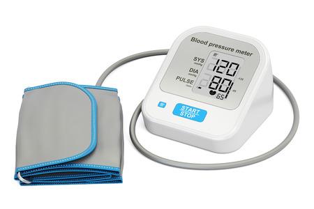 Elektronische sphygmomanometer, 3D-weergave geïsoleerd op een witte achtergrond