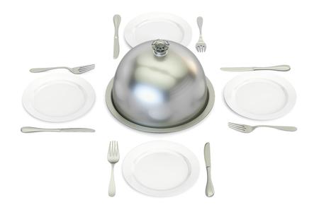 Restaurant cloche with plates around, 3D rendering