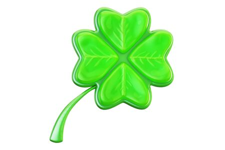 patrick: Four leaf clover closeup, 3D rendering on white background Stock Photo