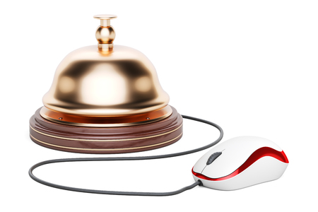 Reception bell with computer mouse. Online hotel booking, 3D rendering isolated on white background Stock Photo
