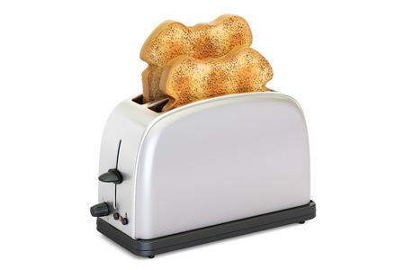 Tostadora con pan, representación 3D aislada en el fondo blanco