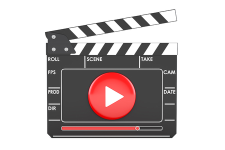 Digital movie clapper board, cinema concept. 3D rendering isolated on white background