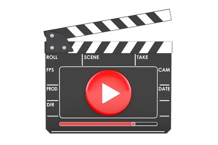 Digitale film kleppen bord, bioscoop concept. 3D-rendering op een witte achtergrond