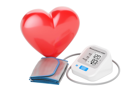electronic sphygmomanometer with heart, 3D rendering isolated on white background Stock Photo