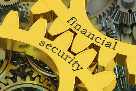 Financial Security concept on the gearwheels, 3D rendering