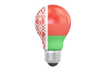 on the comprehension: Light bulb with Belarus flag, 3D rendering isolated on white background
