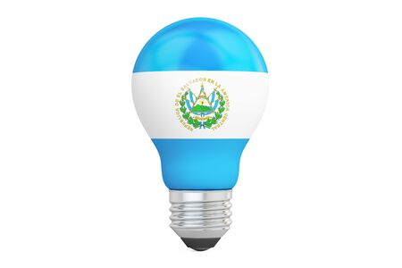 on the comprehension: Light bulb with Salvador flag, 3D rendering isolated on white background