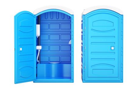 열리고 닫힌 모바일 휴대용 파란색 플라스틱 화장실, 3D 렌더링 스톡 콘텐츠